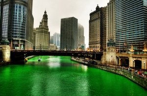 green-chicago-river